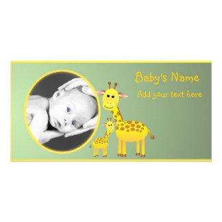 Anúncio do girafa do bebê cartão com foto