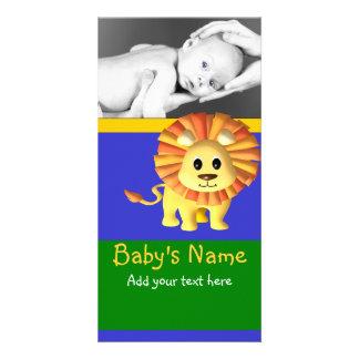 Anúncio do leão do bebê cartão com foto