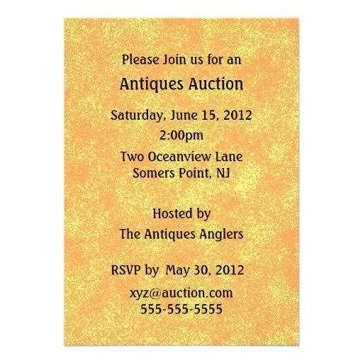 Anúncio do leilão das antiguidades convites personalizados