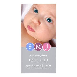 Anúncio do nascimento cartão com foto personalizado