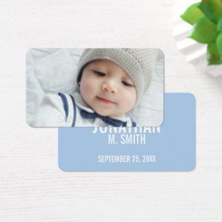 Anúncio do nascimento com a foto recém-nascida cartão de visitas
