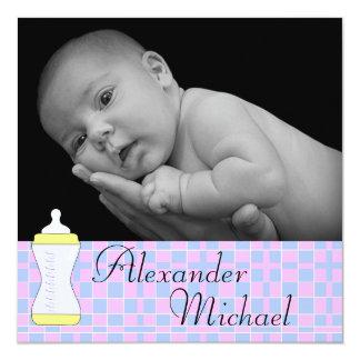 Anúncio do nascimento da cobertura do bebê do convite quadrado 13.35 x 13.35cm