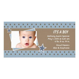 Anúncio do nascimento da foto da estrela azul cartao com fotos personalizado