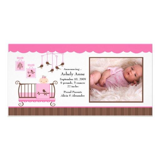 Anúncio do nascimento da FOTO da menina da sala do Cartao Com Fotos Personalizado