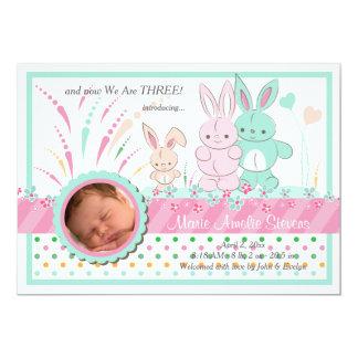 Anúncio do nascimento da foto de família do coelho convite 12.7 x 17.78cm