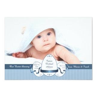 Anúncio do nascimento da foto do azul da páscoa convite 12.7 x 17.78cm
