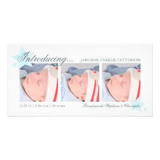 Anúncio do nascimento da foto do bebé 3 das estrel cartão com foto