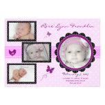 Anúncio do nascimento da foto do bebé da borboleta convite