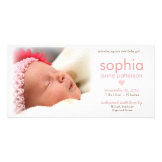 Anúncio do nascimento da foto do bebé da simplicid cartões com fotos