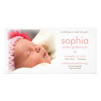 Anúncio do nascimento da foto do bebé da simplicid cartoes com foto