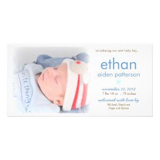 Anúncio do nascimento da foto do bebé da simplicid cartao com fotos