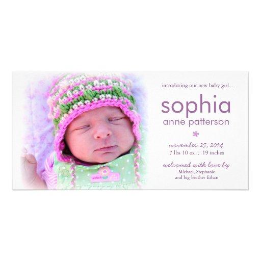 Anúncio do nascimento da foto do bebé da simplicid cartão com fotos personalizado