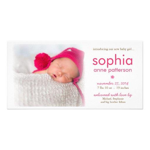 Anúncio do nascimento da foto do bebé da simplicid cartoes com fotos personalizados