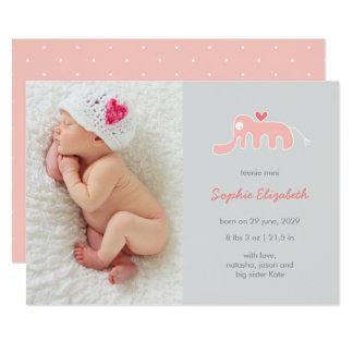 Anúncio do nascimento da foto do bebé do elefante convite 12.7 x 17.78cm