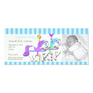 Anúncio do nascimento da foto do carrossel convite 10.16 x 23.49cm