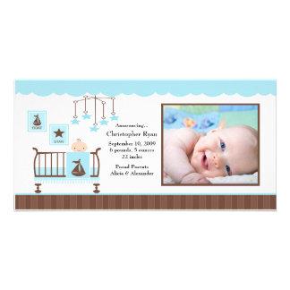 Anúncio do nascimento da FOTO do menino da sala do Cartoes Com Foto Personalizados