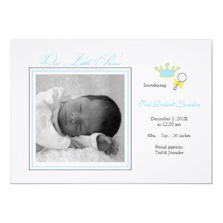 Anúncio do nascimento da foto do menino - príncipe convites