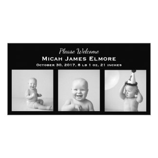 Anúncio do nascimento da foto do preto três cartão com foto