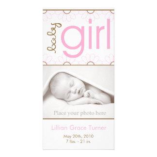 Anúncio do nascimento da menina - cartão com fotos cartão com foto