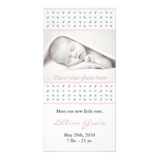 Anúncio do nascimento da menina - cartão com fotos