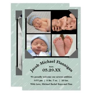 Anúncio do nascimento das setas -3x5 da colagem da