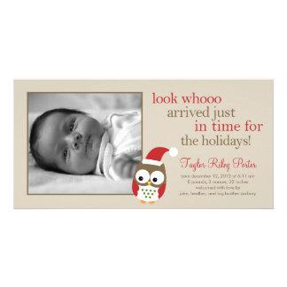 Anúncio do nascimento do bebê da coruja do feriado cartão com foto
