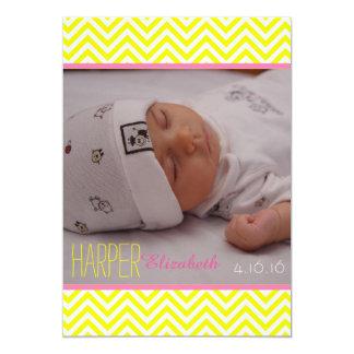 Anúncio do nascimento do bebé de Chevron Convite 12.7 X 17.78cm