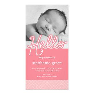 Anúncio do nascimento do bebê do doce olá! - rosa cartão com fotos