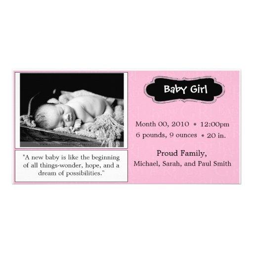 """Anúncio do nascimento do """"bebé"""" do rosa cartao com foto personalizado"""