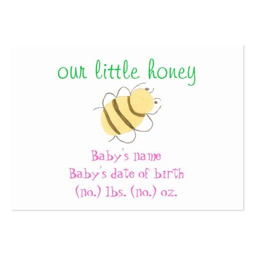 Anúncio do nascimento do bolso do zangão do bebê cartões de visita