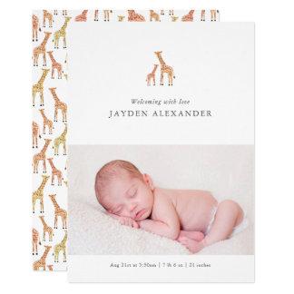 Anúncio do nascimento do girafa convite 12.7 x 17.78cm