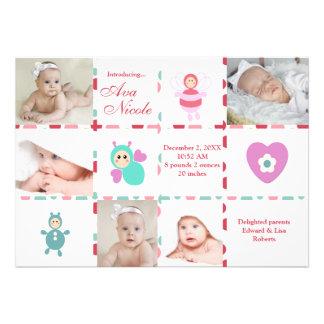 Anúncio do nascimento do gráfico do bebê 9-Photo