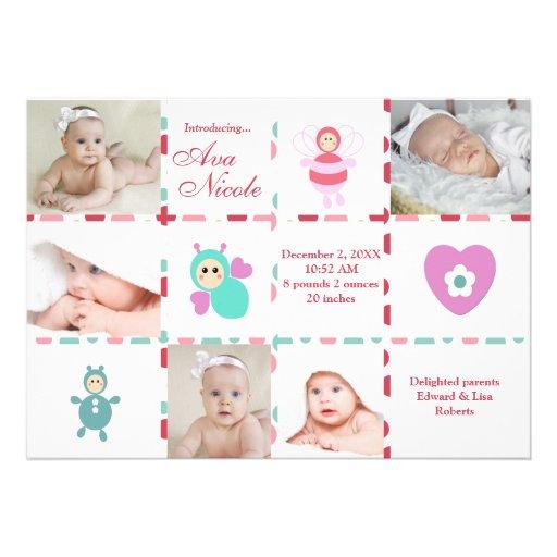 Anúncio do nascimento do gráfico do bebê 9-Photo Convites Personalizado