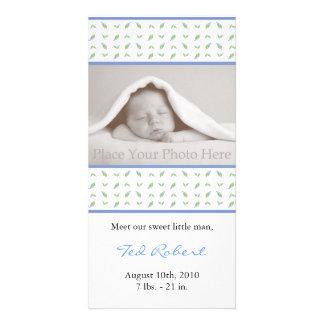 Anúncio do nascimento do menino - cartão com fotos