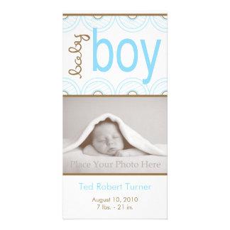 Anúncio do nascimento do menino - cartão com fotos cartão com foto