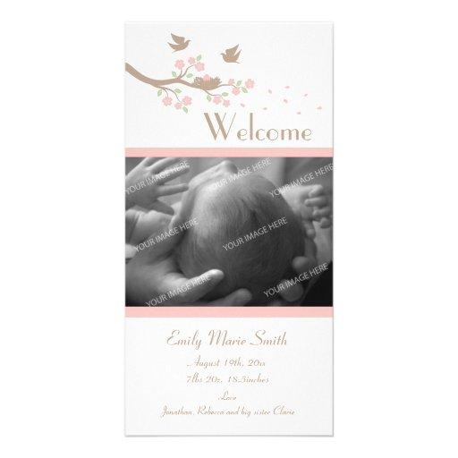 Anúncio do nascimento do ninho dos pássaros cartoes com fotos personalizados