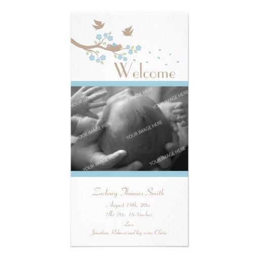 Anúncio do nascimento do ninho dos pássaros cartões com foto personalizados