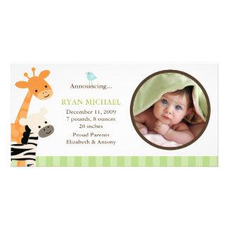 Anúncio do nascimento dos amigos do safari cartão com foto personalizado