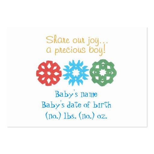 Anúncio do nascimento dos flocos de neve pequenos  modelo cartões de visitas