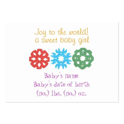 Anúncio do nascimento dos flocos de neve pequenos  cartões de visita