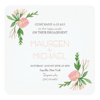 anúncio do noivado da aguarela convite quadrado 13.35 x 13.35cm