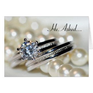 Anúncio do noivado dos anéis e das pérolas do