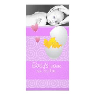 Anúncio do pintinho do bebê cartão com foto