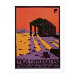 Anúncio do viagem do vintage Syria (Palmyra) e do  Cartao Postal