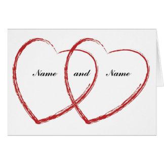 anúncio dobro do noivado do coração cartão comemorativo