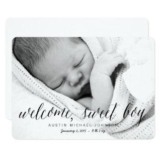 Anúncio doce bem-vindo do nascimento da foto do