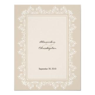 Anúncio elegante clássico do casamento tema convite 10.79 x 13.97cm