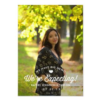 Anúncio elegante da gravidez da simplicidade convite 12.7 x 17.78cm