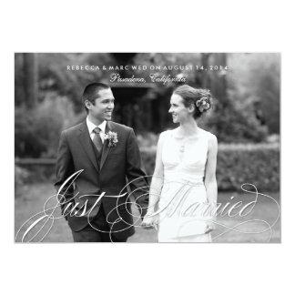Anúncio elegante do casamento da foto do recem convite 12.7 x 17.78cm