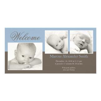 Anúncio elegante do nascimento de três fotos cartão com foto
